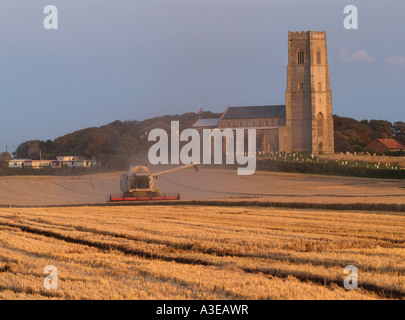 COMBINE HARVESTER IN FIELD LOADING TRAILER WITH CEREAL GRAIN WITH ST MARYS CHURCH , HAPPISBURGH, NORFOLK, EAST, - Stock Photo