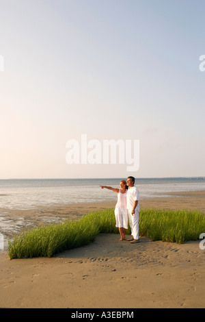 Mid adult woman pointing forward with a mature man standing beside her on the beach - Stock Photo