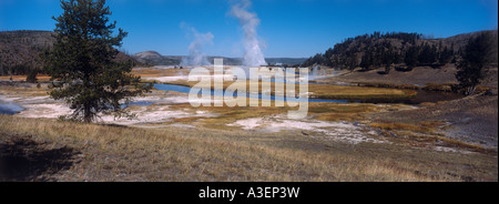 Hot springs along Firehole River Yellowstone National Park Wyoming United States of America horizontal - Stock Photo