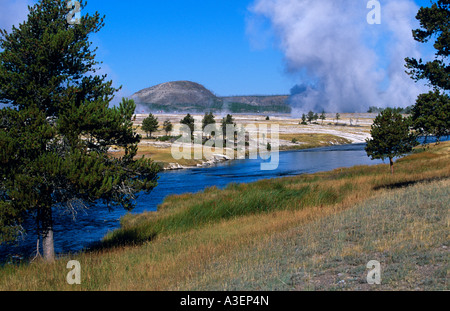 Hot spring fumaroles along Firehole River Lower Geyser Basin Yellowstone National Park NW Wyoming USA horizontal - Stock Photo