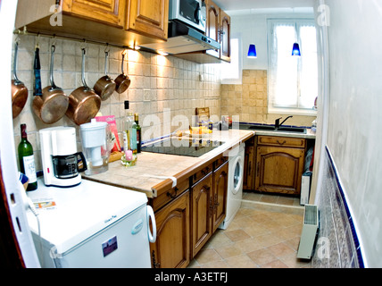 Paris France, After Renovations, Old Apartment Kitchen 'italian Ceramic Tile' Countertop DIY Oak Cabinets, Home - Stock Photo