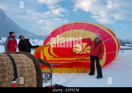 Inflating a balloon at the Chateau d'Oex balloon festival