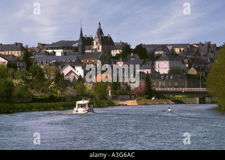 france western loire river mayenne chateau gontier david martyn hughes - Stock Photo