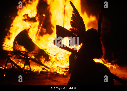 Up Helly Aa Lerwick Shetland Islands Scotland Celebration of the midwinter festival old style calendar January 28th - Stock Photo