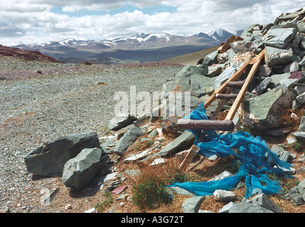 Obo - traditional Mongolian cult construction. Top of the Buratyn Daba Pass. Khovd aimag (province). West Mongolia - Stock Photo