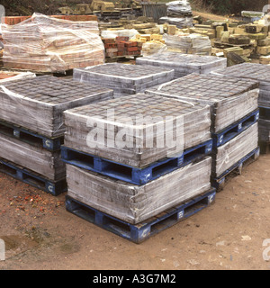 Architectural reclamation yard, paving slabs, stones and setts - Stock Photo