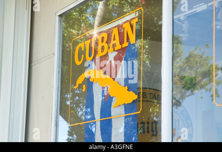 Cuban window dressing on 8th Street Little Havana Miami Florida - Stock Photo