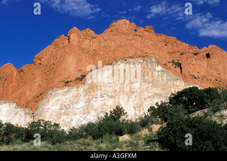 Kissing camels, one of the signature rock formations in Garden of the Gods, Colorado Springs, Colorado. - Stock Photo