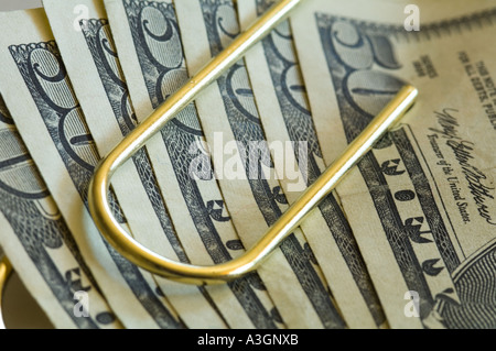 conceptual view several fifty dollar bills US clipped together - Stock Photo