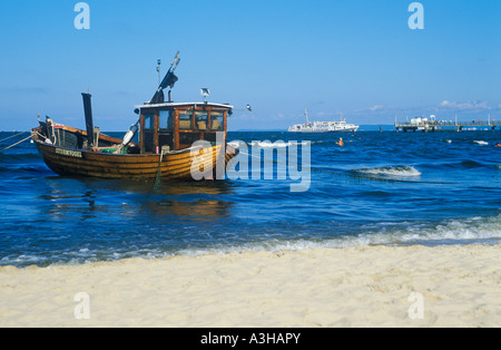 traditional fishing boat at the beach of Ahlbeck on the Baltic Sea Island of Usedom