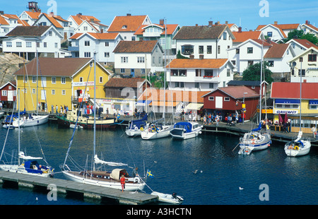 harbour in Smogen on the Sotenas Peninsula in the South West of Sweden - Stock Photo