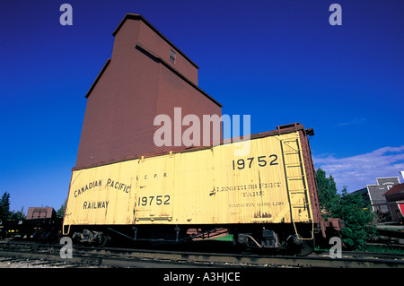 canadian pacific railway cargo waggon grain storage silo canada editorial use only - Stock Photo