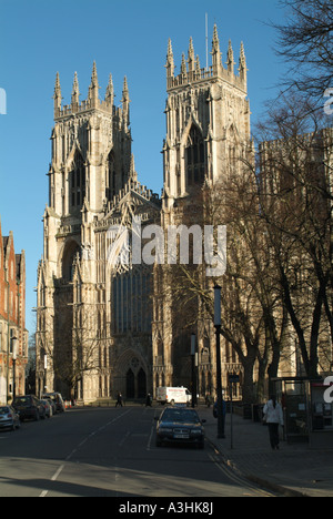 Western facade of York Minster from Duncombe Place, York. - Stock Photo