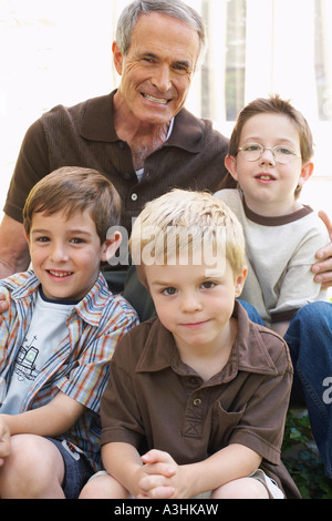 Portrait of Grandfather with Grandsons - Stock Photo