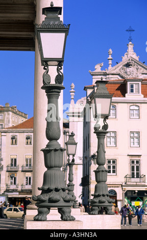 Historic streetlights in front of the theater Dona Maria II.,  Rossio, Lisbon, Portugal, Europe - Stock Photo