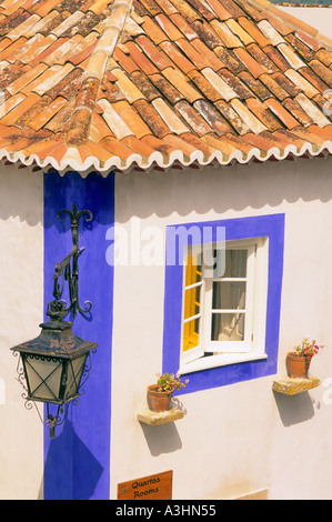 Detail of typical house at the historic village of Obidos Obidos Portugal Europe - Stock Photo