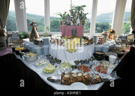 buffet display of breakfast hotel green park village of pitlochry perthshire highlands scotland great britain - Stock Photo