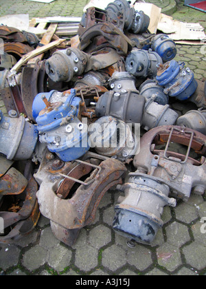 Discarded air brake truck parts - Stock Photo