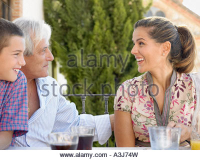 Woman with father and son - Stock Photo