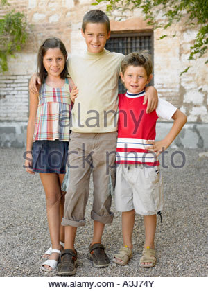 Sister and brothers - Stock Photo