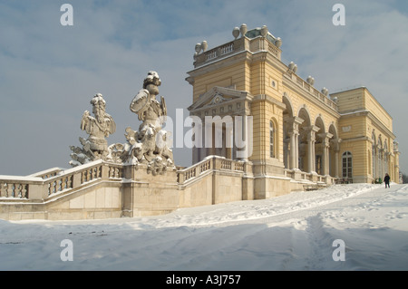 Gloriette near the palace Schönbrunn in winter Vienna Austria - Stock Photo