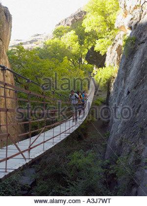 Teenagers walking across a bridge - Stock Photo