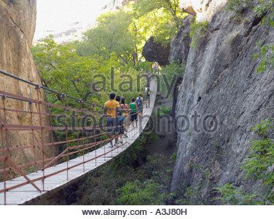 Group of teenagers walking across bridge - Stock Photo