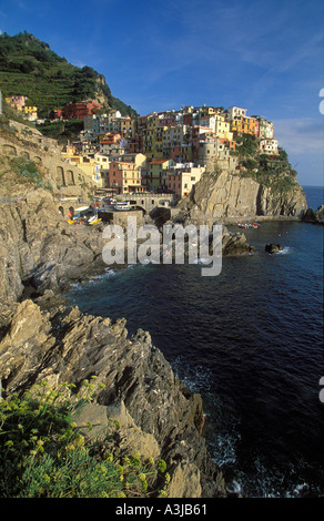 Manarola Cinque Terre Ligurian Coast Italy - Stock Photo