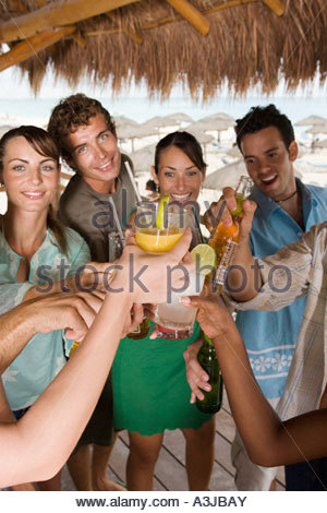 Friends toasting in a bar - Stock Photo