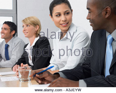Man and woman in a meeting - Stock Photo
