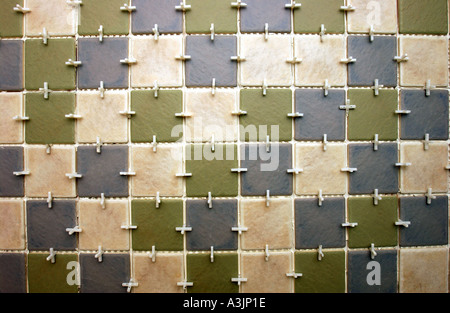 ... TILING A BATHROOM WITH PILKINGTON TILES AND TILE SPACERS   Stock Photo