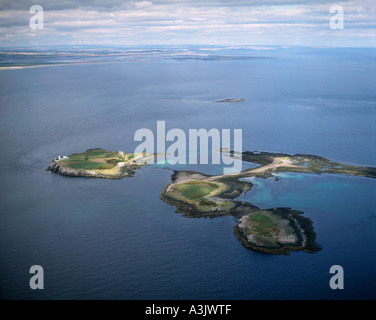 Farne Islands off Bamburgh Northumberland UK aerial view - Stock Photo