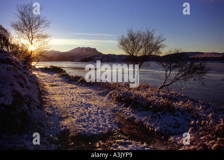 Looking across Loch Kanaird to Beinn Ghoblach, Scottish Highlands. - Stock Photo