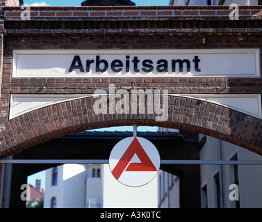 sign to an employment office at an archway in Goerlitz, D-Goerlitz, Lusatian Neisse, Upper Lusatia, Lower Silesia, - Stock Photo