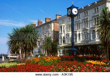 Flowers& Millennium Clock, Mostyn Street/Gloddaeth Street, Llandudno, Conwy County Borough, Wales - Stock Photo