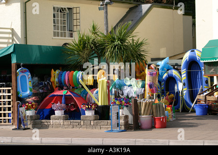 Beach goods on sale at seaside resort Exmouth Devon England UK - Stock Photo