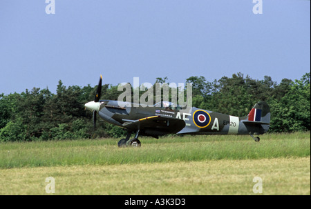 France Europe Spitfire MkV 2 on runway - Stock Photo
