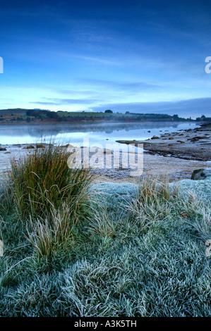 Cool crisp morning at Fernworthy Reservoir in dartmoor National Park near Moretonhampstead Devon - Stock Photo