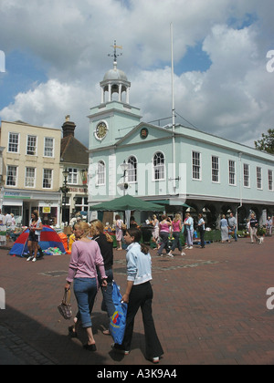 The Guildhall and Market Place Faversham Kent England  - Stock Photo