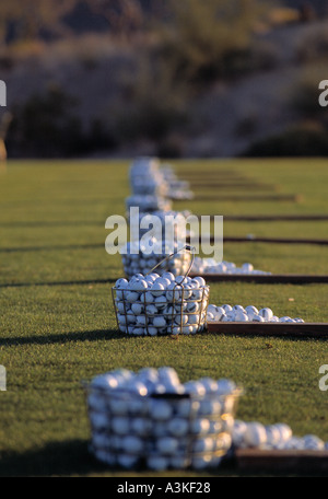 Golf balls driving range - Stock Photo