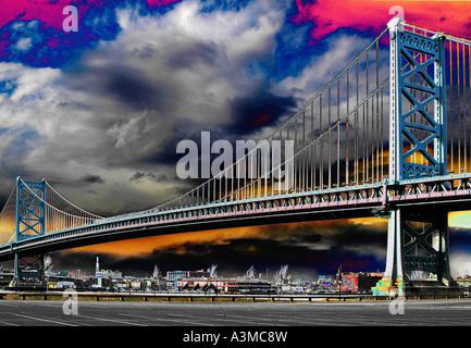 Benjamin Franklin bridge spanning Delaware river connecting Philadelphia & Camden NJ New Jersey - Stock Photo