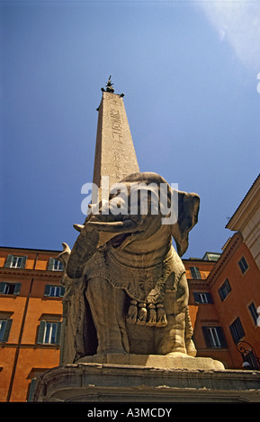 Il Pulcino Della Minerva - Elephant Carrying an Obelisk, Rome (Italy) - Stock Photo