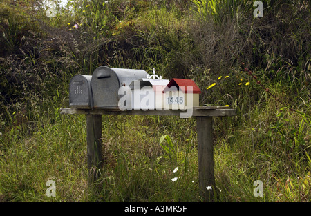 Row of mailboxes North Island New Zealand - Stock Photo