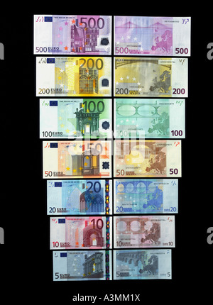 BOTH SIDES OF THE 7 DIFFERENT EURO BANKNOTES - Stock Photo