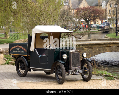 Gloucestershire Bourton on the Water Cotswolds Motor Museum Vintage pickup vehicle in forecourt - Stock Photo