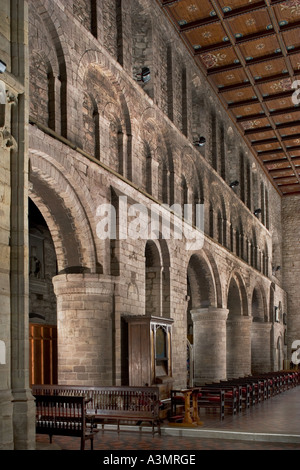 The Priory Church of St Peter and St Paul, Leominster, England. Interior view showing arcade down north nave towards - Stock Photo
