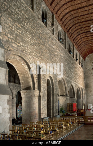 The Priory Church of St Peter and St Paul, Leominster, England. Interior view showing arcade down south nave towards - Stock Photo