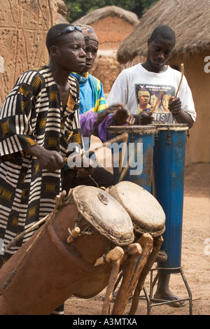 Talking Drums of West Africa, Mognori Village, Northern Ghana - Stock Photo