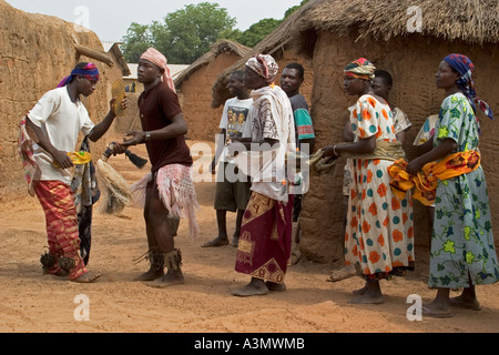 Traditional celebrations and spiritual dances being performed by villagers, Mognori Village Community, Northern - Stock Photo