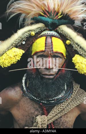 A Huli wigman Tari Southern Highlands Papua New Guinea - Stock Photo